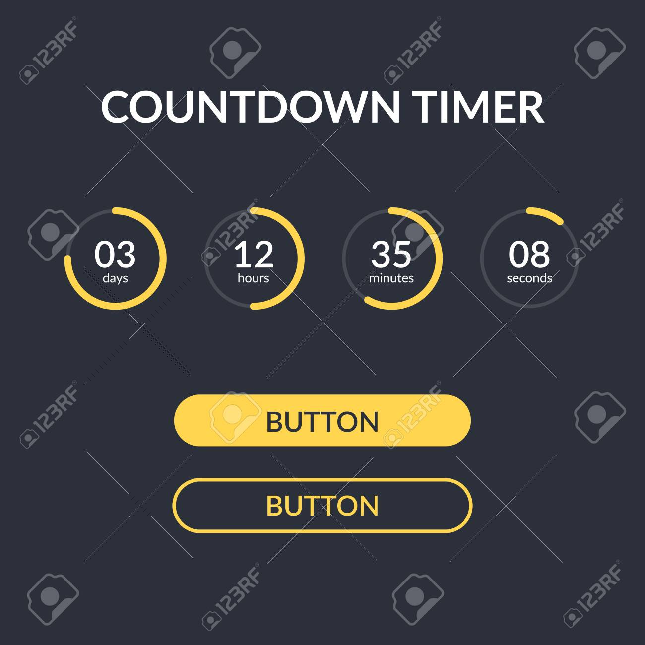 Countdown timer vector website element with buttons  Countdown