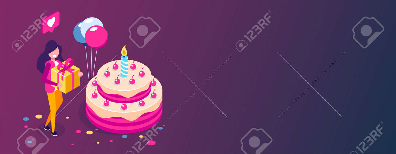 Cool Big Birthday Cake Isometric Concept Happy Girl With A Gift In Funny Birthday Cards Online Unhofree Goldxyz