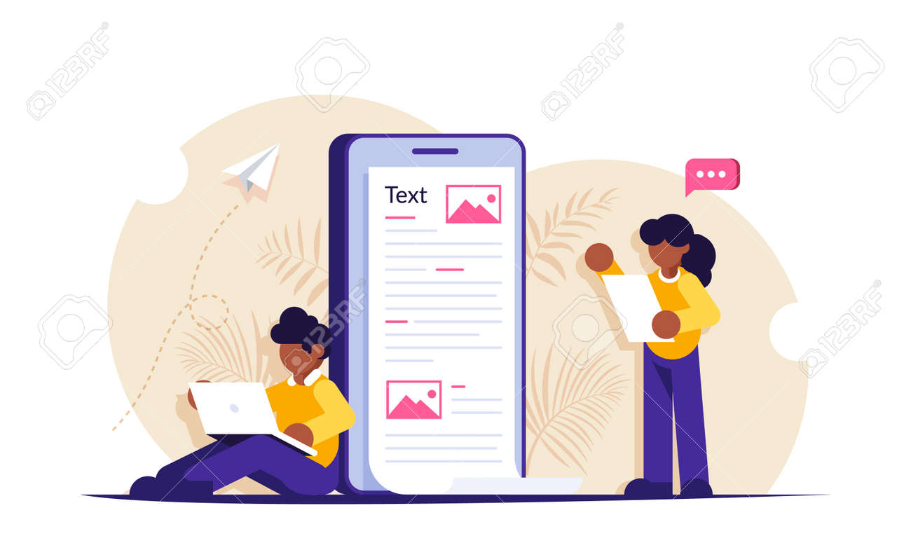 Create content concep. People are working on creating information al-information posts on social networks or news sites. Modern flat vector illustration. - 144129987