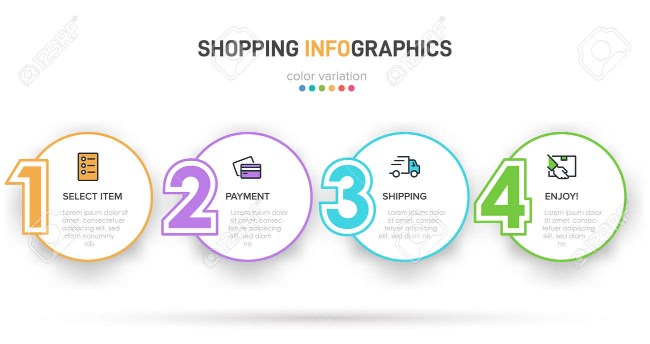 Concept of shopping process with 4 successive steps. Four colorful graphic elements. Timeline design for brochure, presentation, web site. Infographic design layout. - 151636091