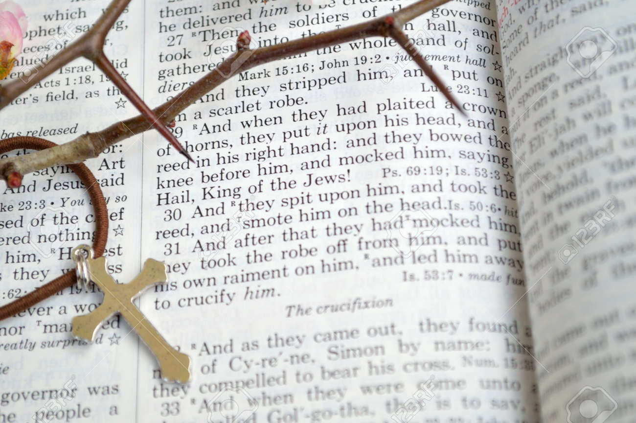 Good Friday, crucifixion scripture background  Closeup of King