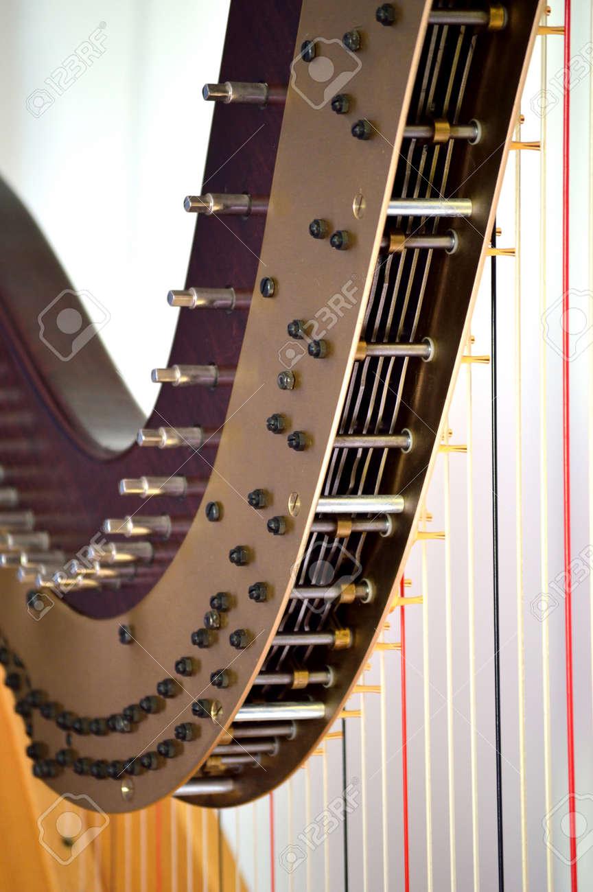Closeup of the mechanisms of a concert grand pedal harp