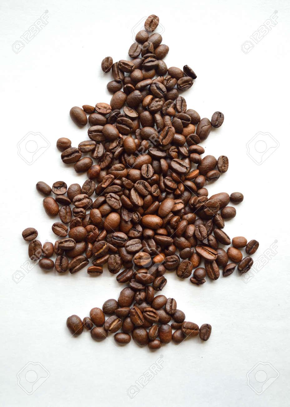 Coffee Christmas Tree.Dark Roasted Coffee Beans Arranged Into A Christmas Tree Shape