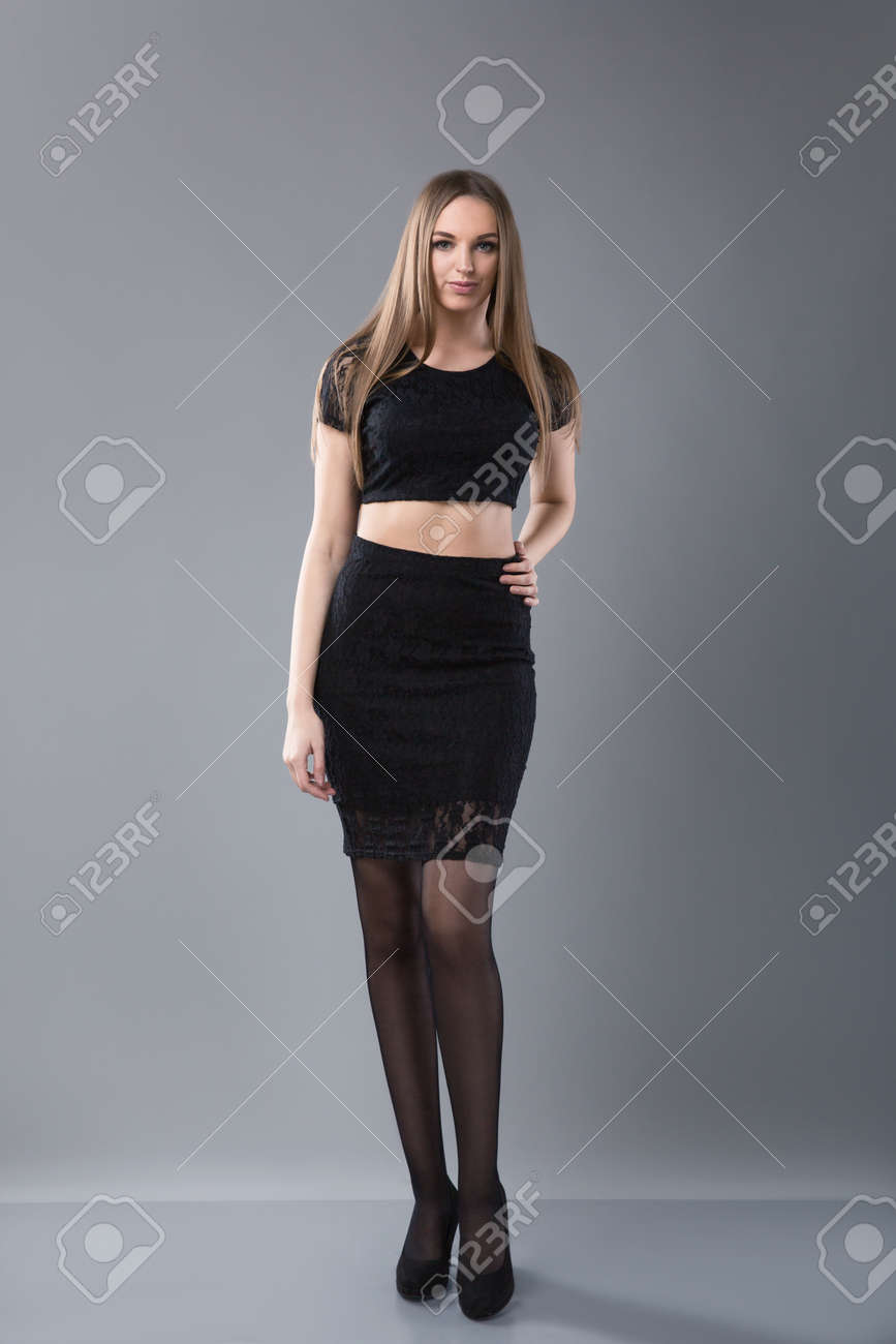 9438422c8 Beautiful Tall Girl Wearing Black Dress And High Heeled Shoes ...