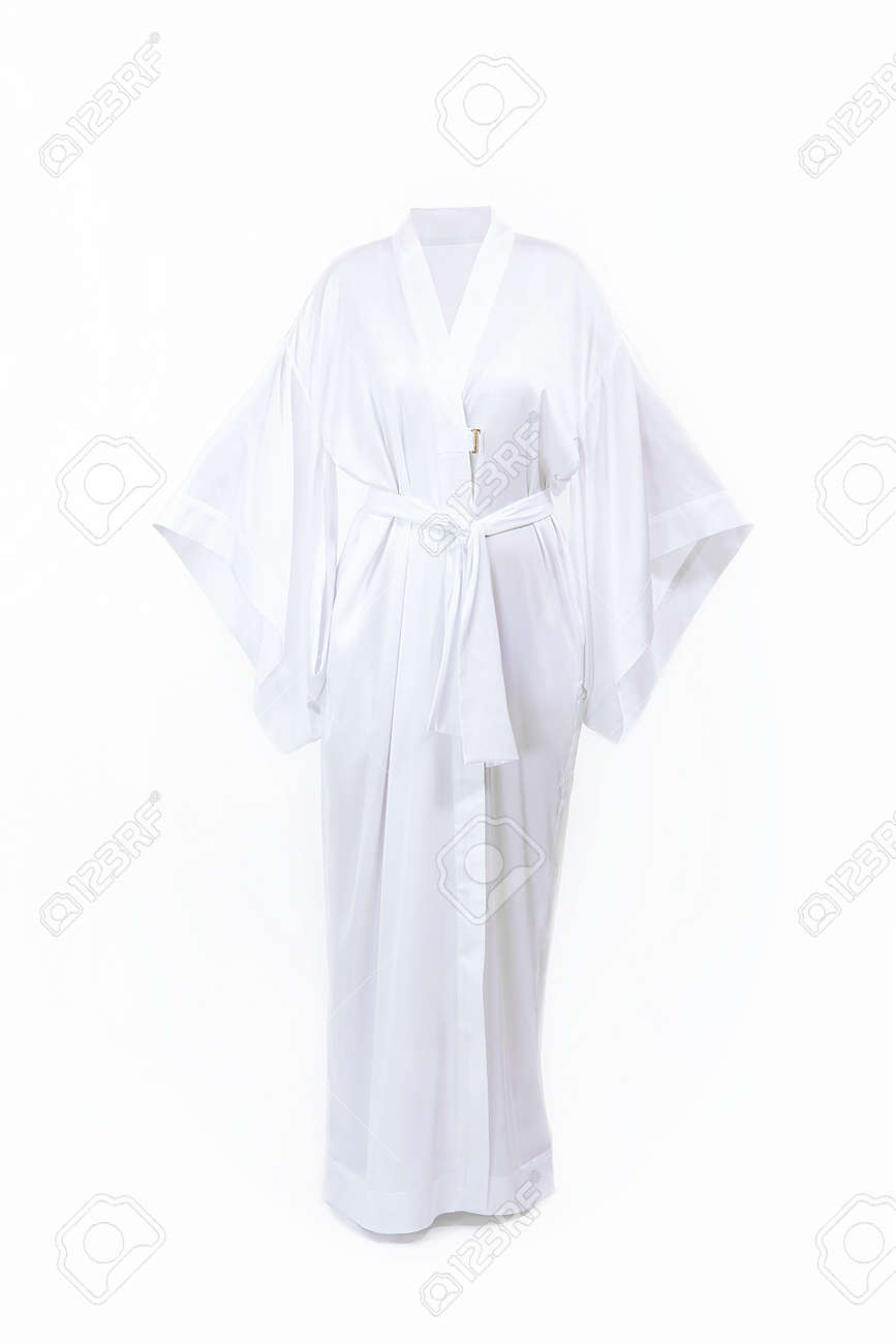 Long White Silk Bathrobe Bathrobe Isolated On White Stock Photo Picture And Royalty Free Image Image 118762500