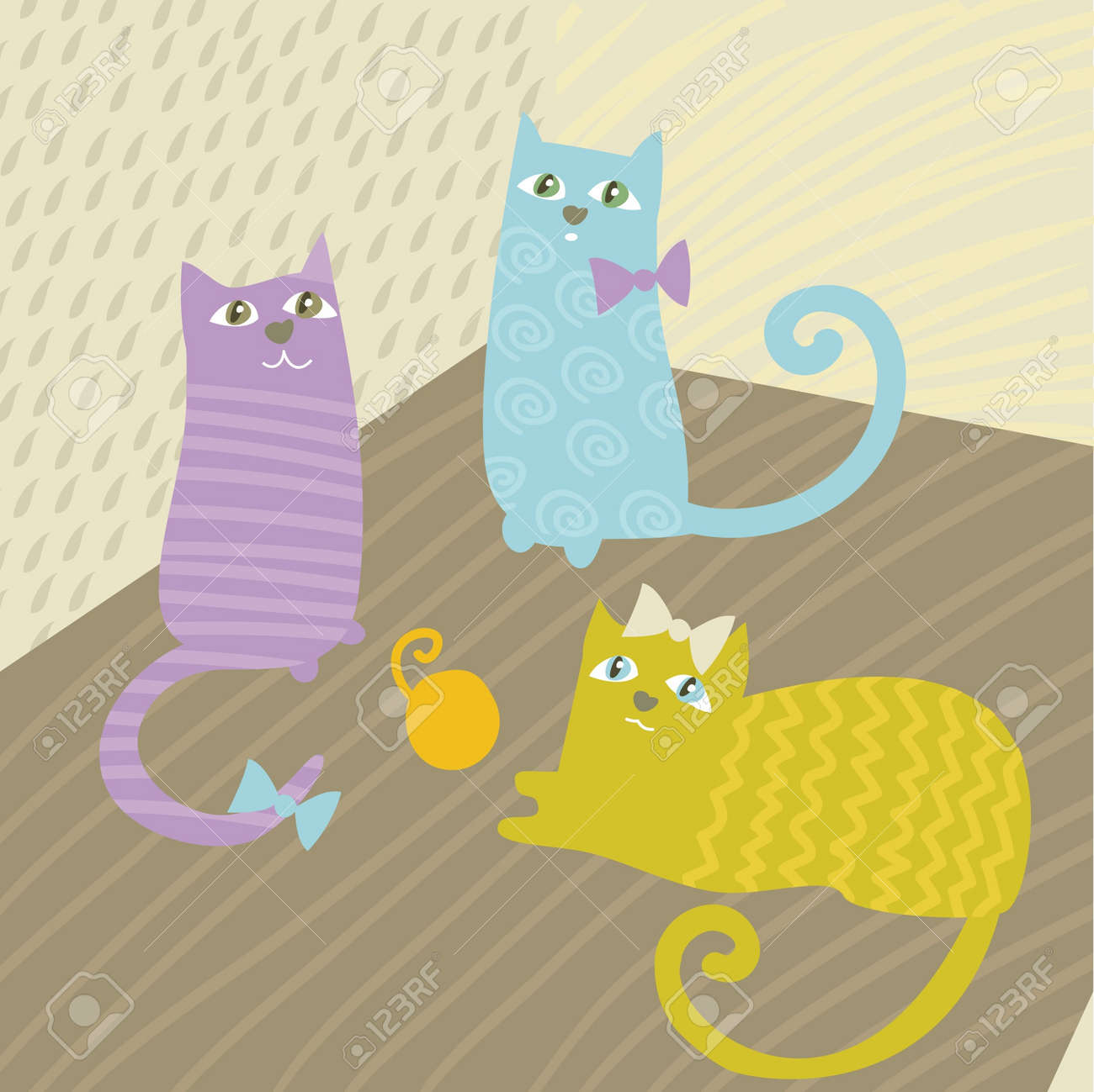 baby cat play with thread Stock Vector - 9757797