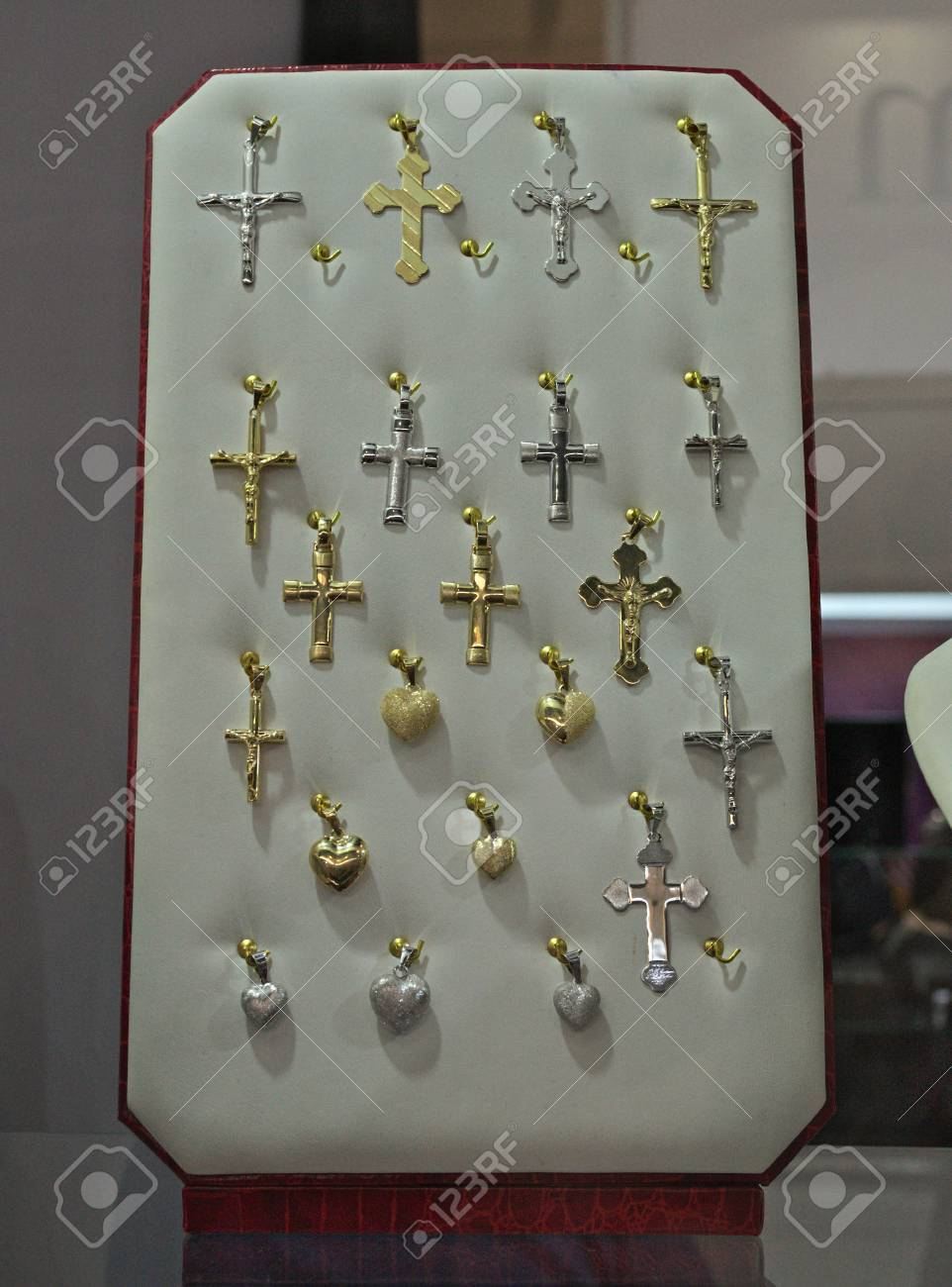 Crosses For Sale >> Gold And Silver Crosses In Showcase For Sale