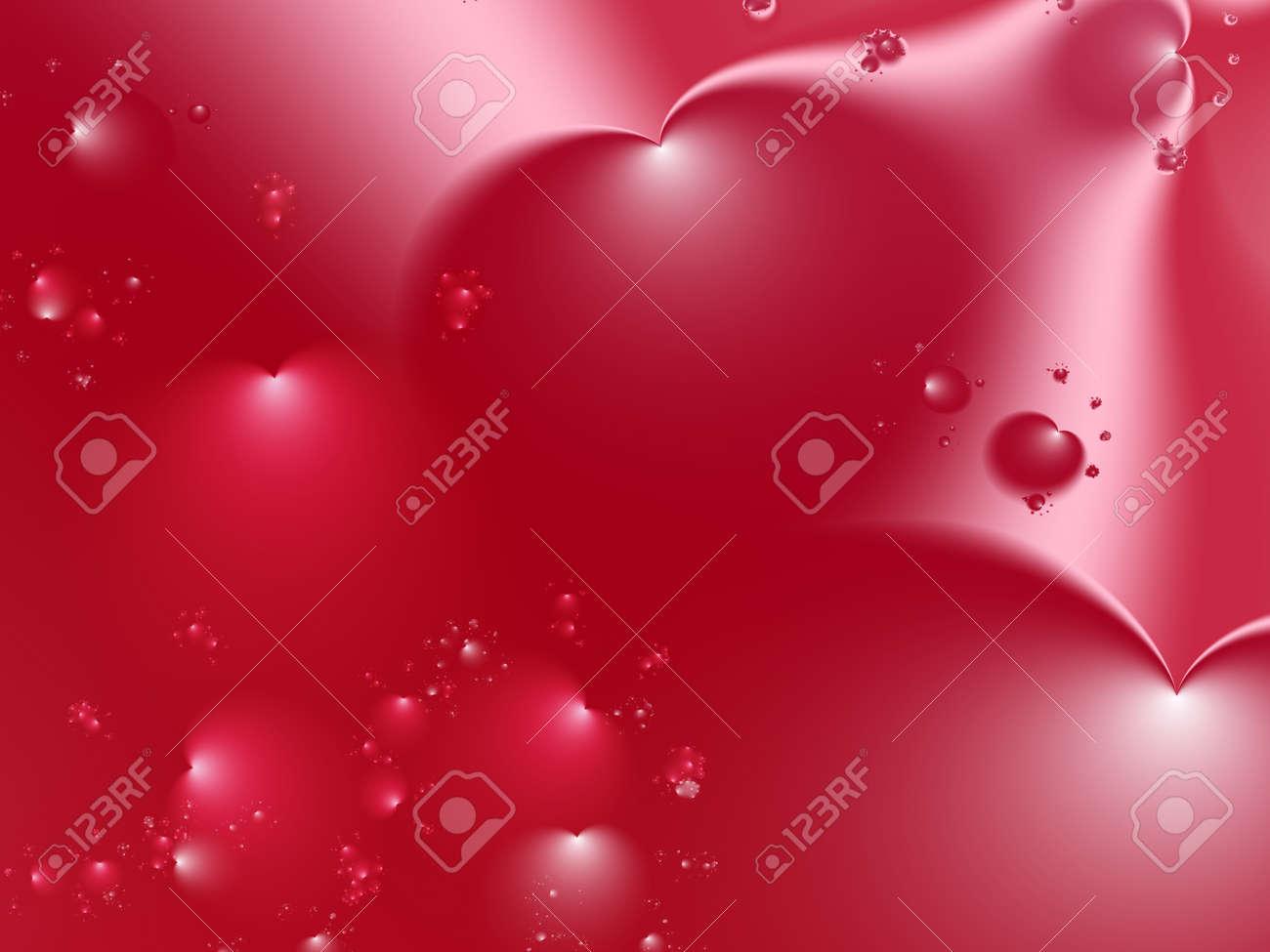 Fractal Rojo De San Valentín Con Corazones Grandes De Diferentes