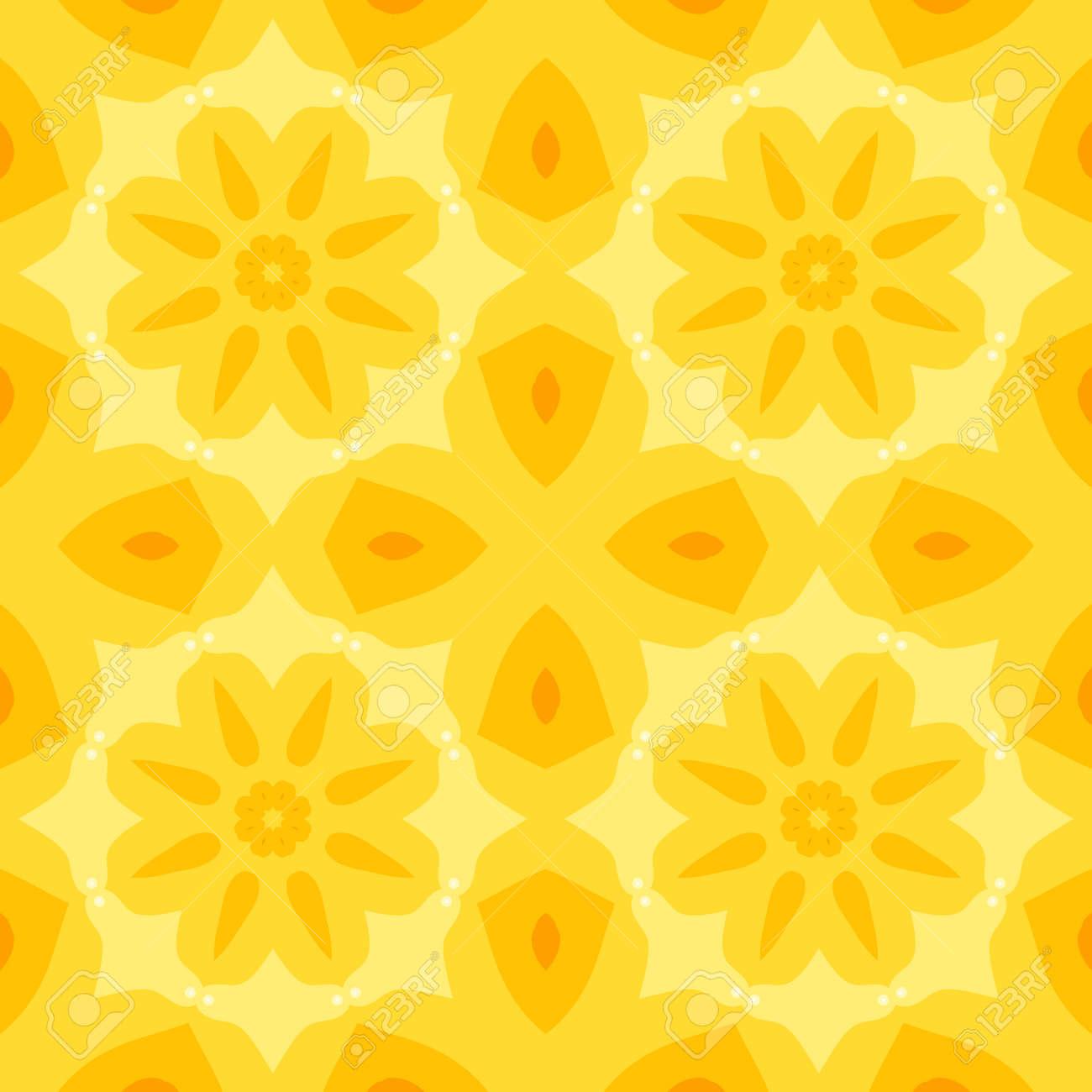 Piastrelle Cucina Con Fiori semplice trama senza soluzione di continuità con un fiore giallo e  arancione foglie stilizzate pattern. adatto per la stampa su tessuto,  lenzuola,