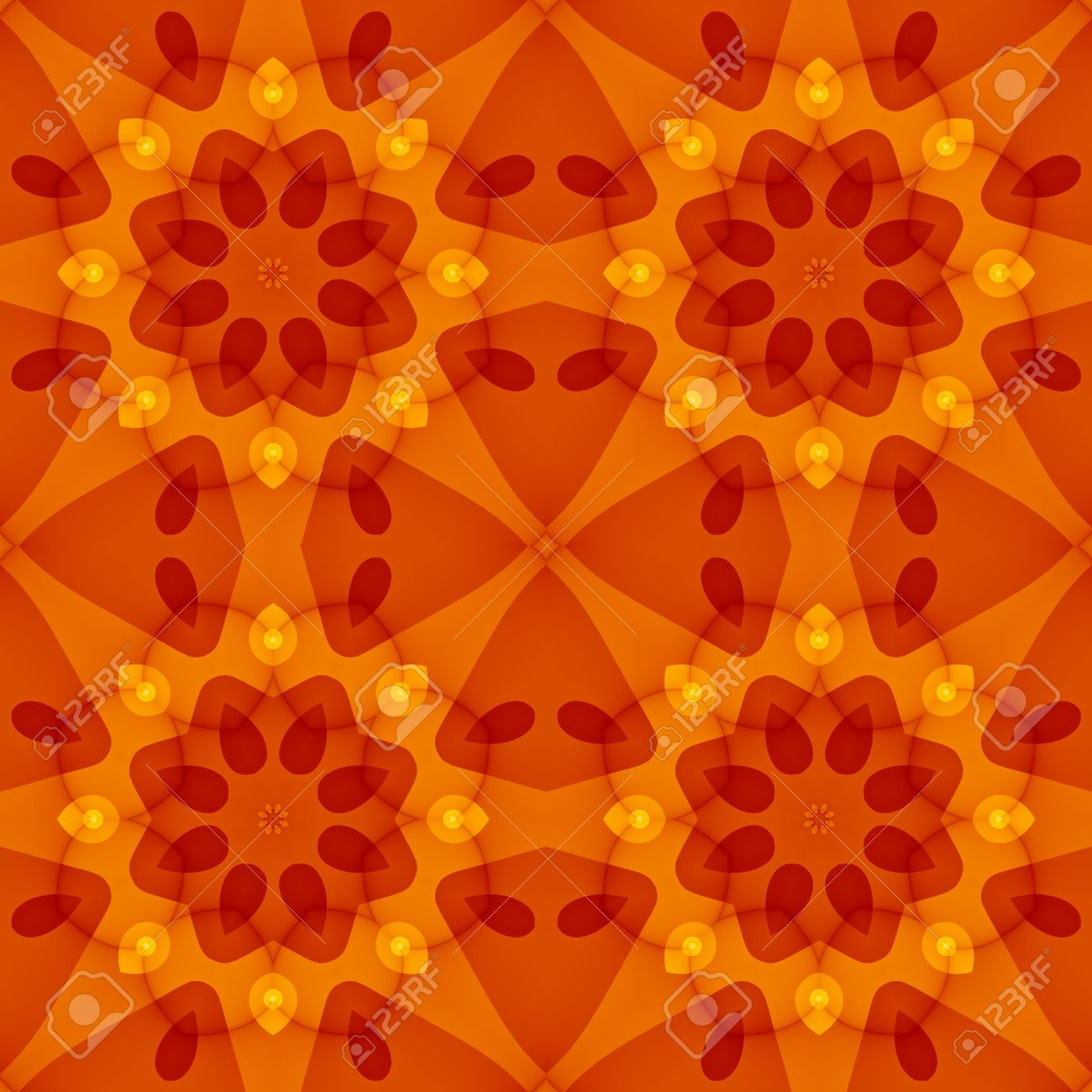 Seamless Texture With A Warm Orange Red Floral Pattern. For Print On  Textiles, Bed