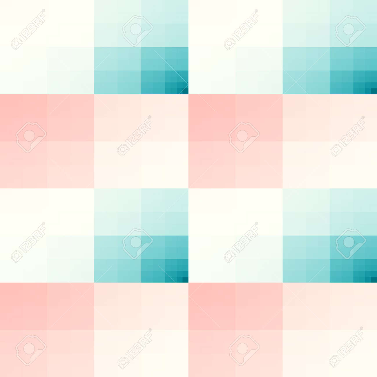 Seamless Texture With Teal And Pink Squares Pattern For Print