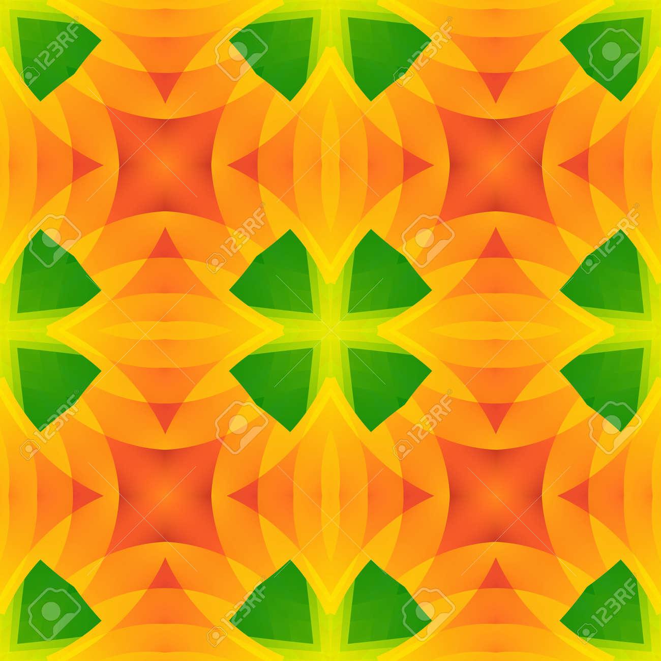 Vivid Green Orange Abstract Texture. Seamless Tile. Home Decor Fabric  Design Sample. Detailed