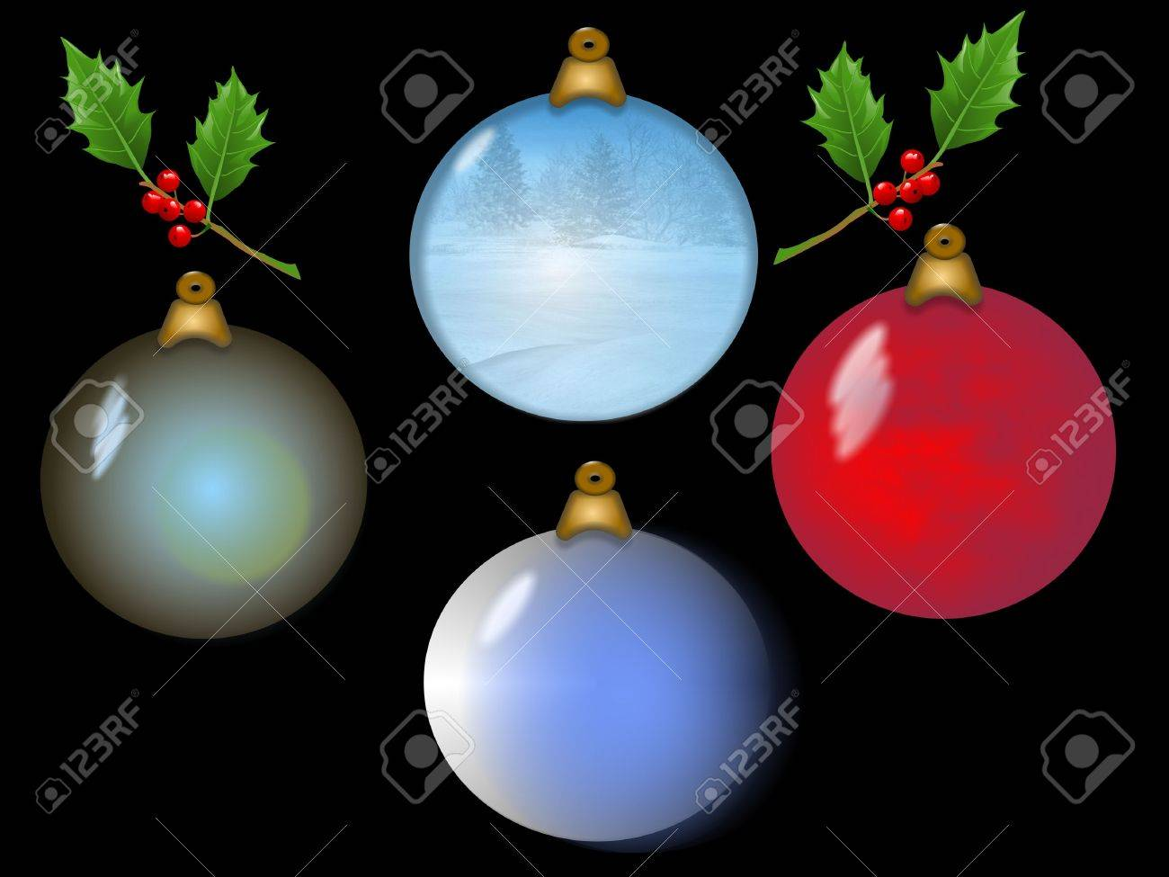 Holly christmas ornaments - Four Christmas Ornaments With Sprigs Of Holly Stock Photo 1797815