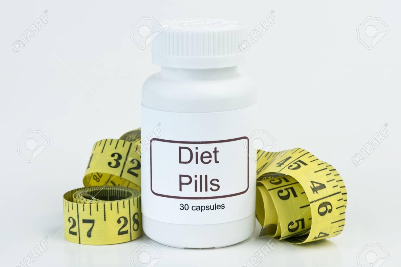 Containernof Diat Pillen Mit Gelben Massband Lizenzfreie Fotos