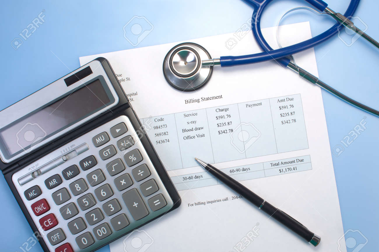 Photo license fee calculator - Health Care Billing Statement With Stethoscope Pen And Calculator Stock Photo 34767441