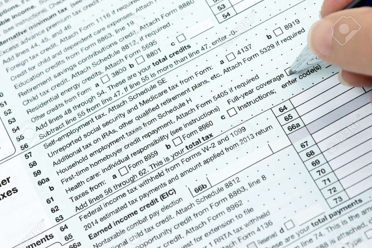 Line 61 On US Income Tax Form 1040 With Person Checking Health ...