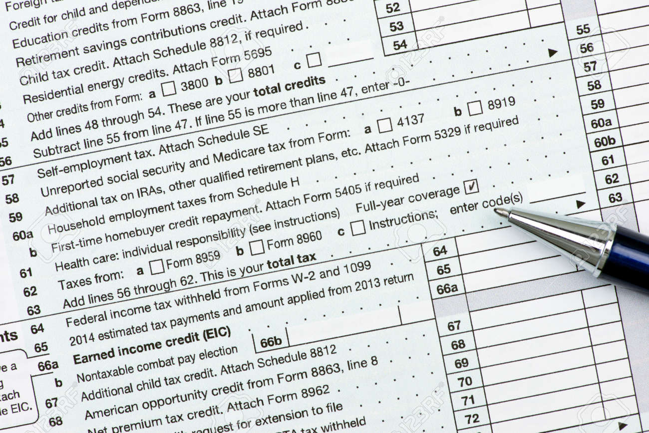 form 1040 health care coverage  Line 16 on US income tax form 16 with checked health care coverage..