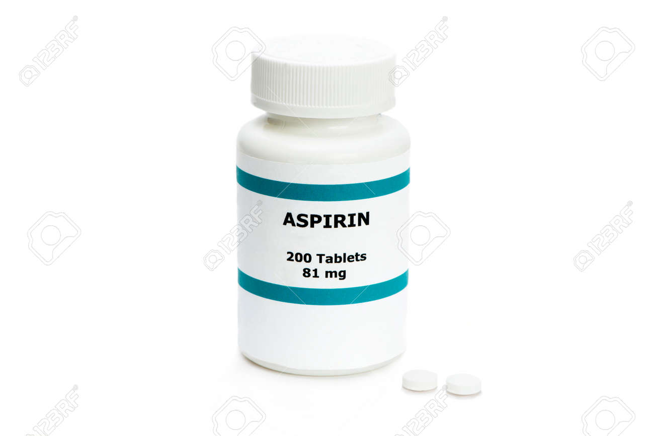 Aspirin bottle with two pills on white. Label is fictitious, and any resemblance to any actual product is purely coincidental. - 39373909
