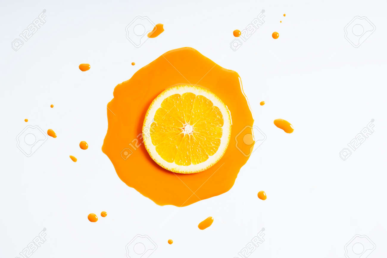 Orange Fruit Abstract In Orange Watercolor On White Background