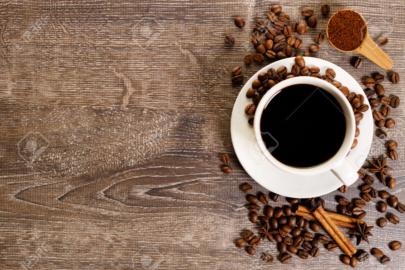 Cup of black coffee with coffee bean - 168682853
