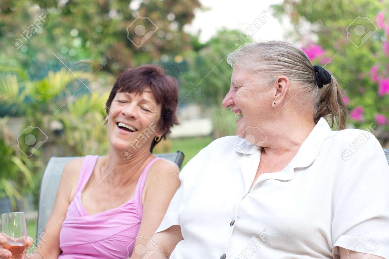 Stock Photo Two Older Women Laughing Having Fun
