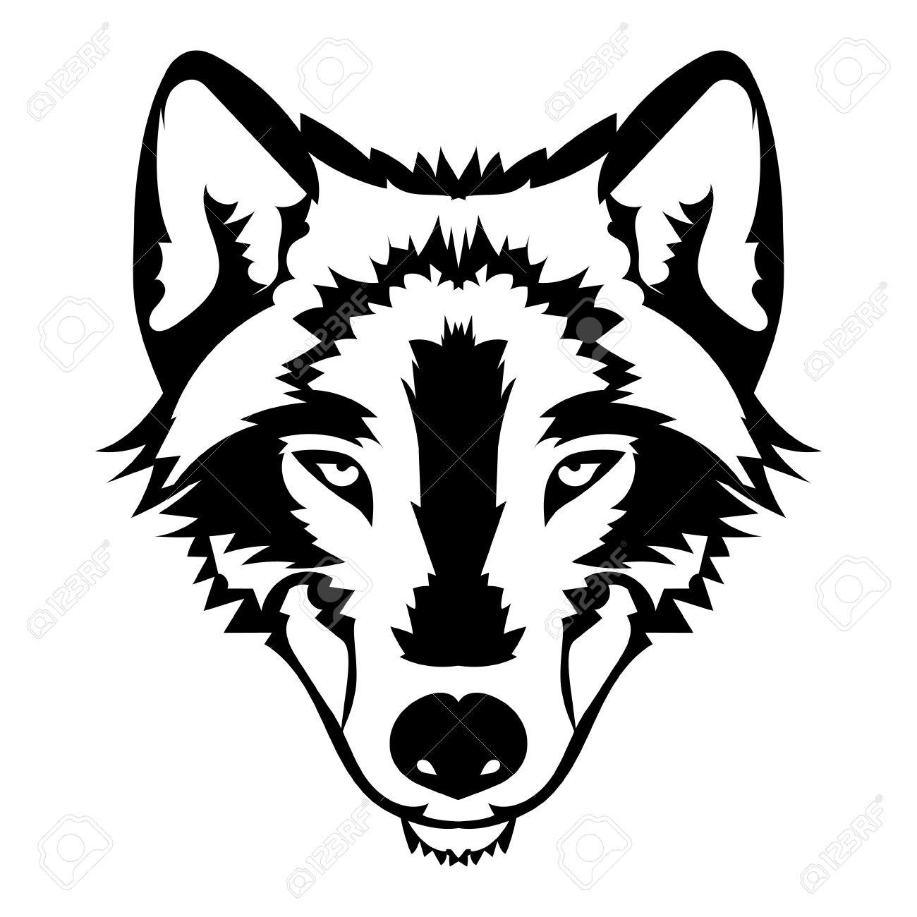 Ilustración Del Vector De La Cara Del Lobo Negro Y Blanco Del