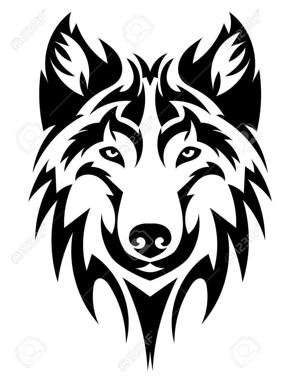 Beautiful Wolf Tattoovector Wolfs Head As A Design Element