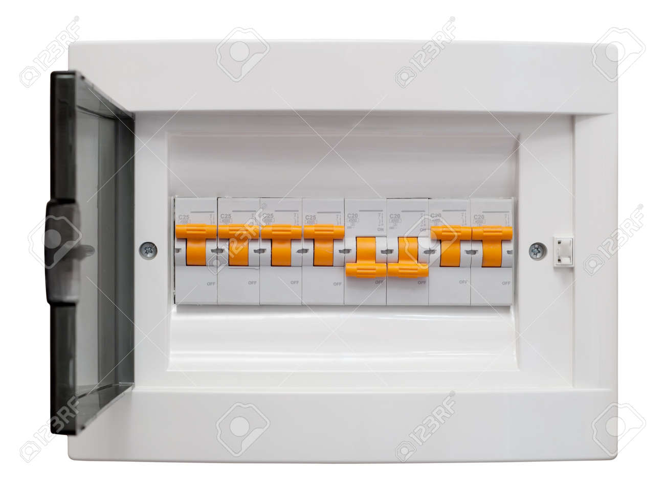 electricity distribution box fusebox isolated on white electricity distribution box fusebox isolated on white background stock photo 8132498