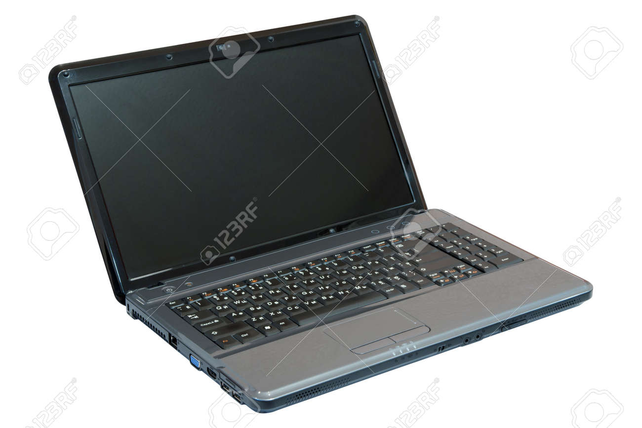 Dark grey notebook (laptop). Isolated on white background with Clipping Path. Stock Photo - 8711319