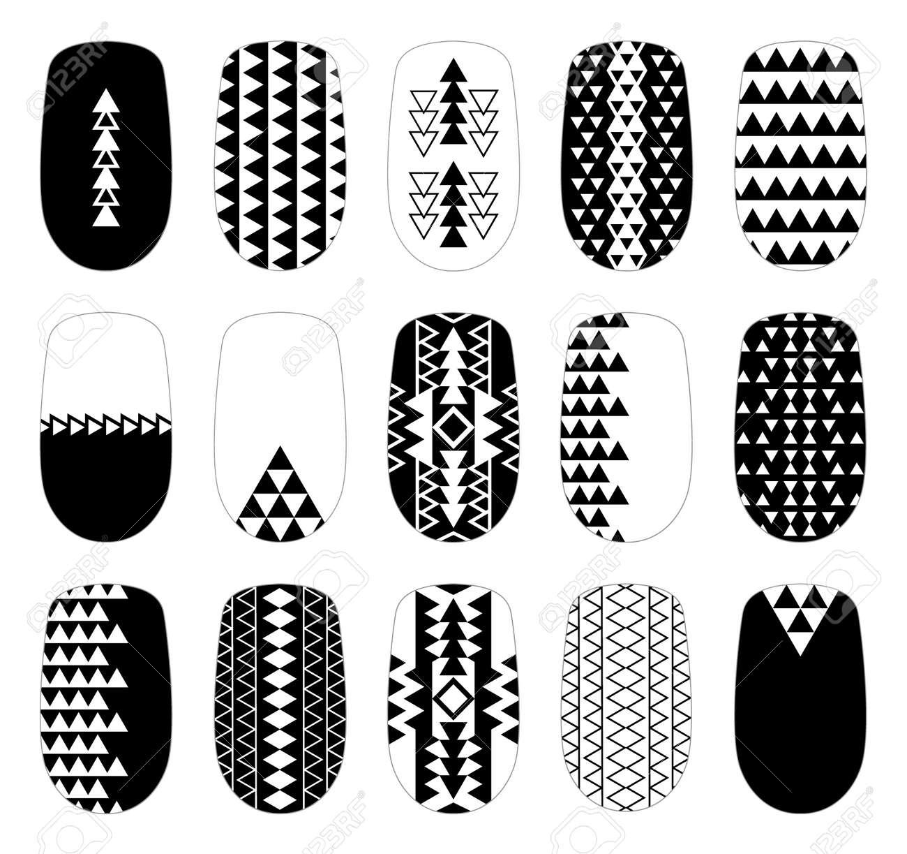 Nail Art Black-and-white Geometric Templates. Manicure Design ...