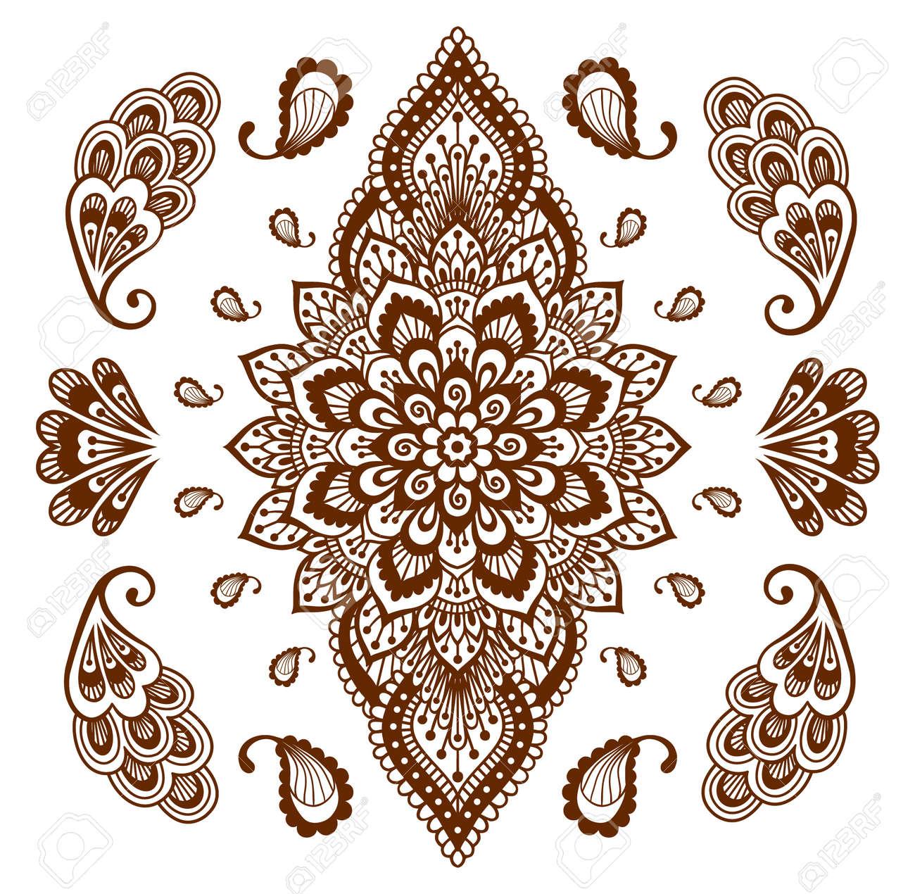Indian Henna Tattoo Set Oriental Style Hand Drawn Decorative Design