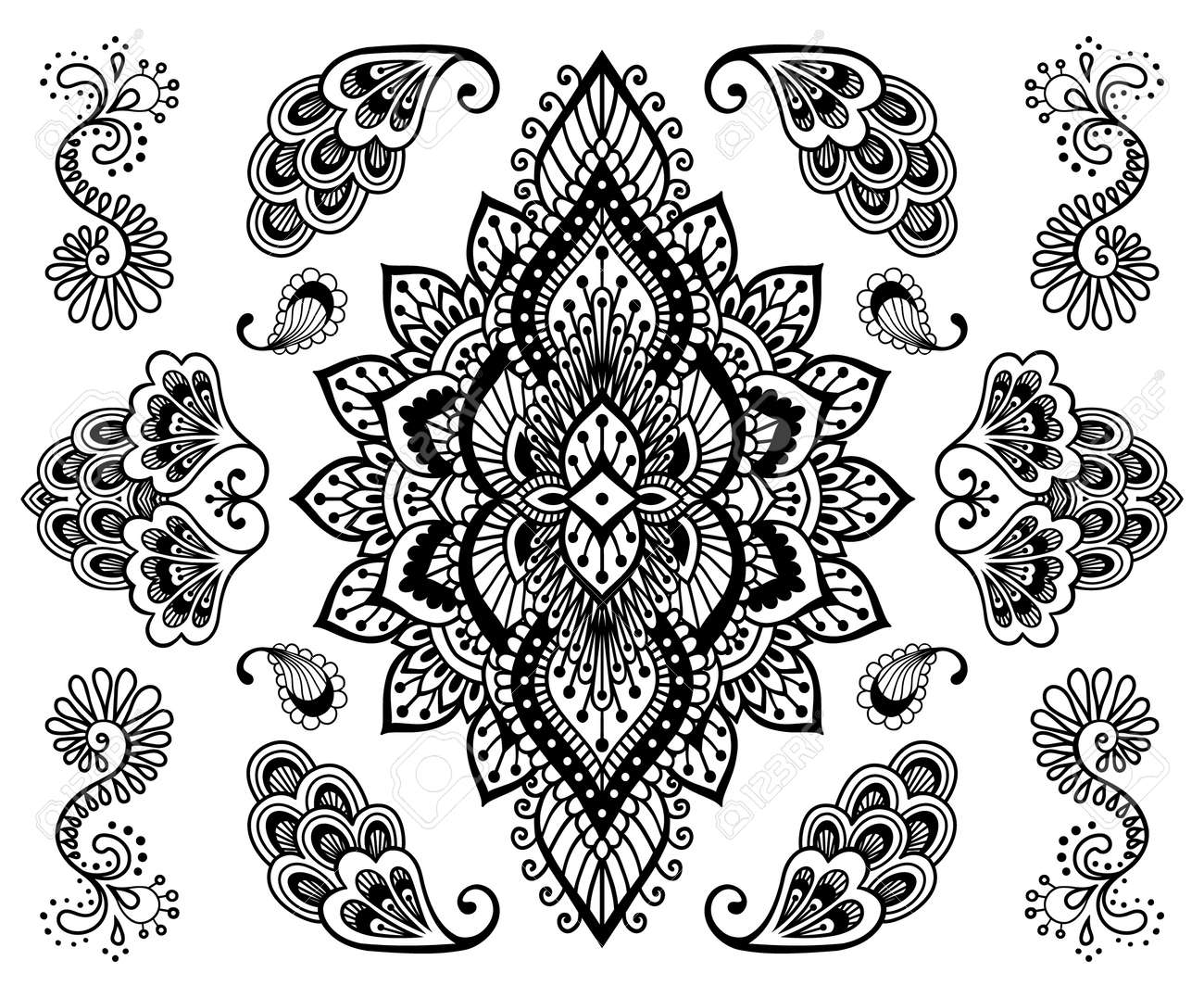 Hand Drawn Mehendi Ornament Collection Indian Henna Tattoo Set