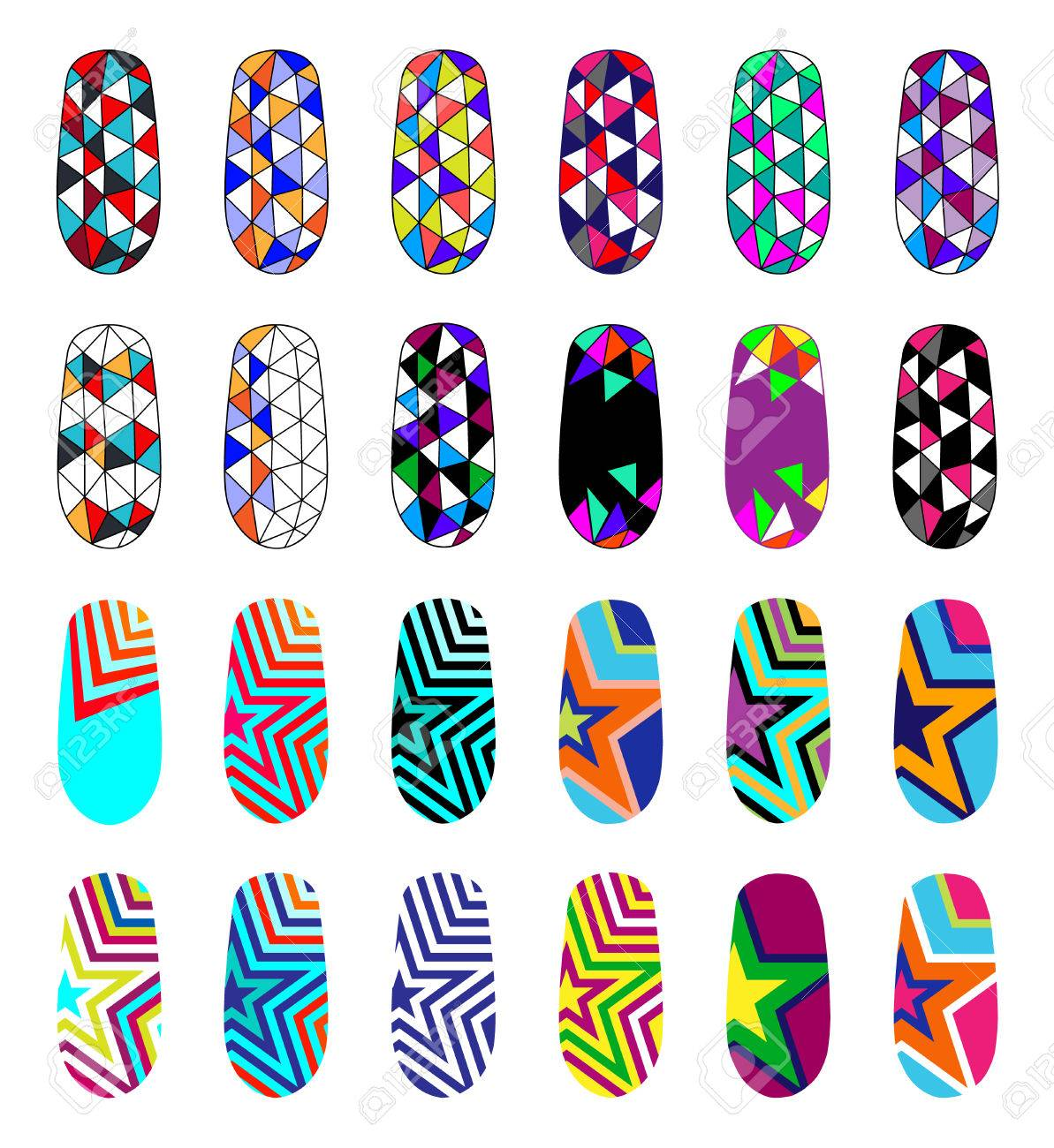 Nail Art Abstract Colorful Templates Manicure Design Set Can
