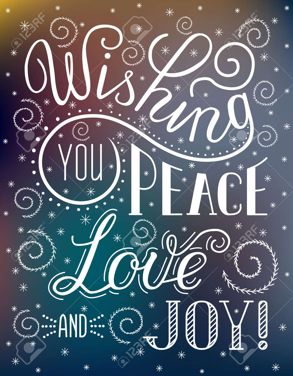 christmas lettering inscription wishing you peace love and joy