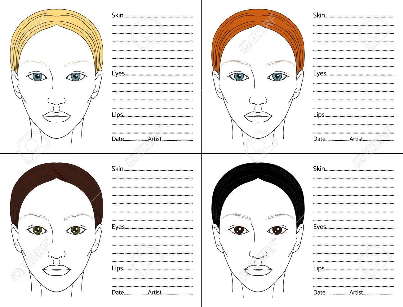 Female face chart blank set for professional make up artists female face chart blank set for professional make up artists different colors of hair nvjuhfo Choice Image