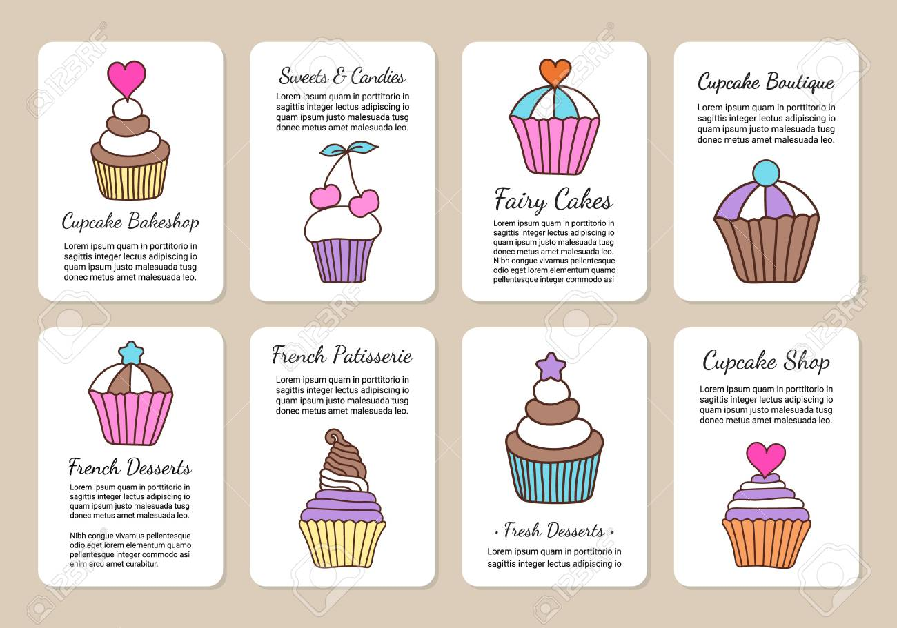 cupcake and ice cream doodle background colored decorative card