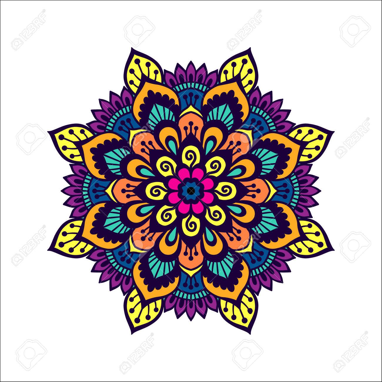 Colorful Mehendi Style Mandala Henna Tattoo Design Template
