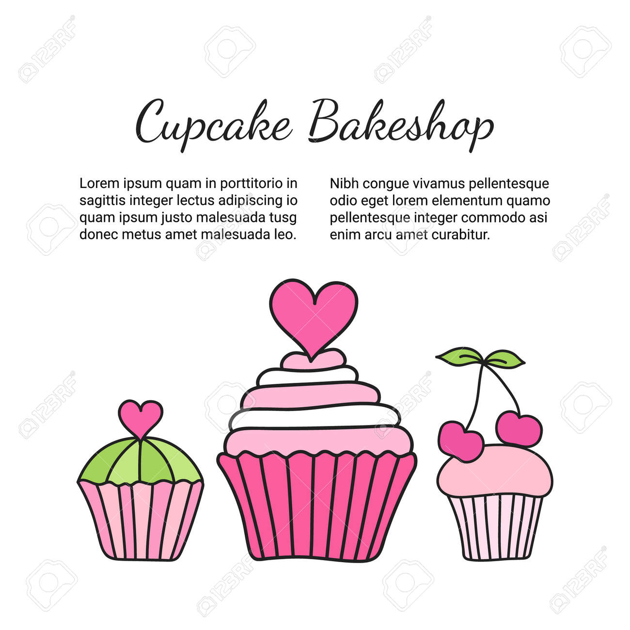 cupcake brochure colored decorative card template of elegant