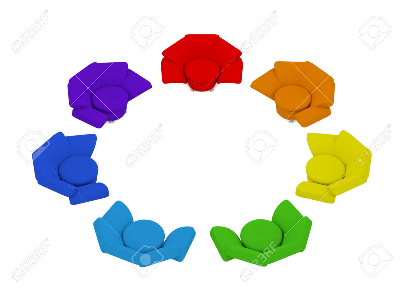 seven heterochromatic armchairs in circle on white background 3d render Stock Photo - 11908543