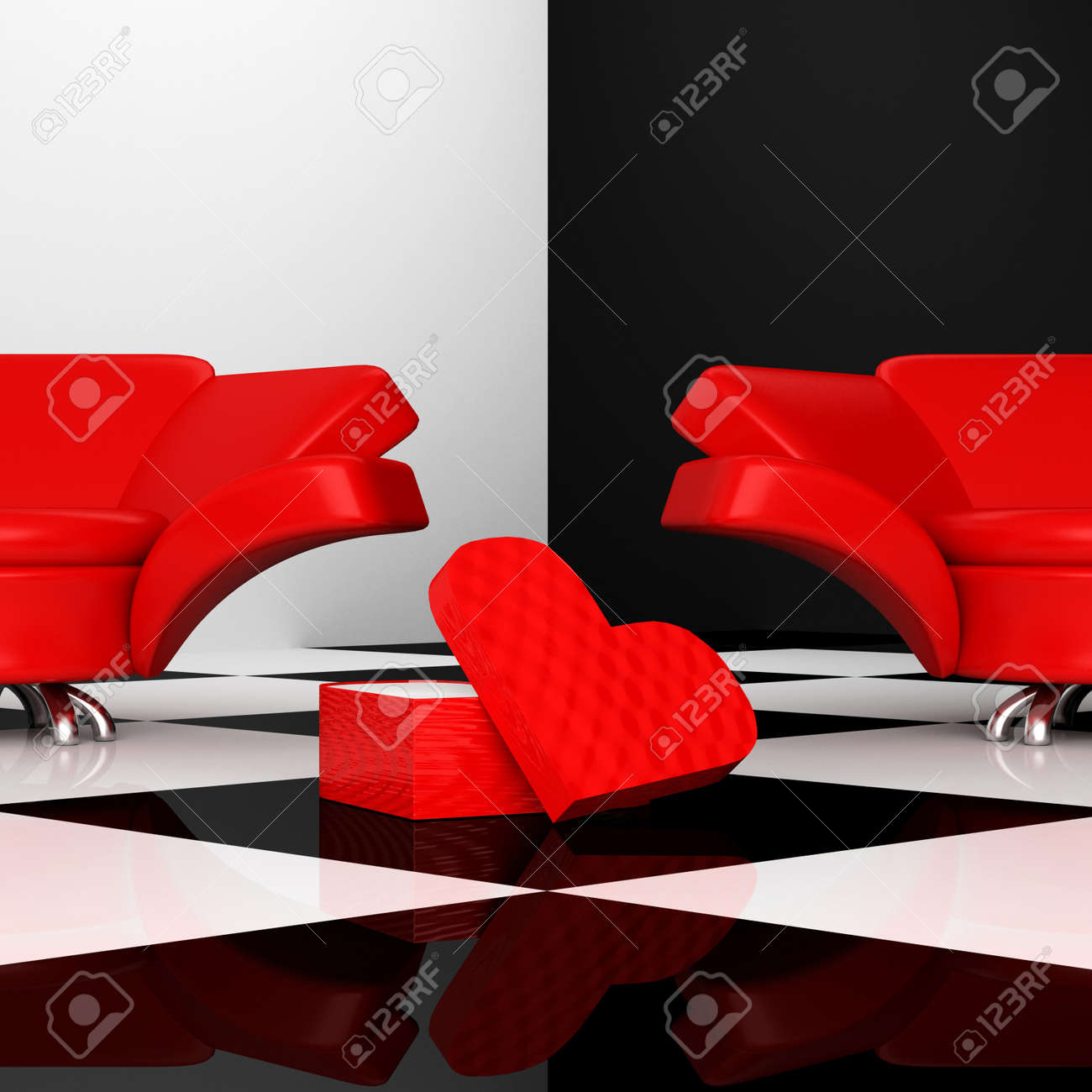 black and white interior with two red armchairs with heart 3d Stock Photo - 11908566