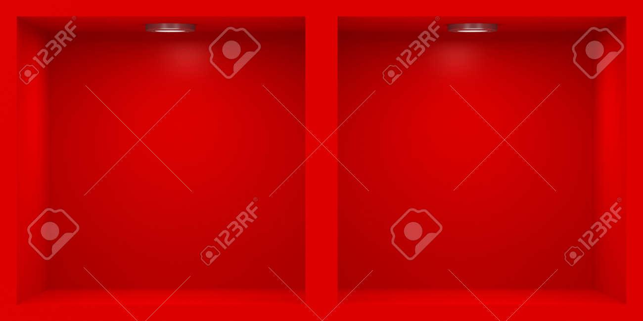 Bastidor Vacío Rojo Con La Iluminación De Los Estantes Fotos ...