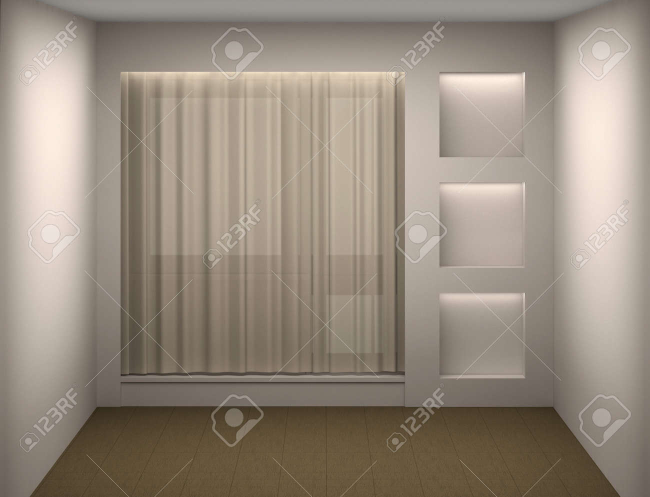 Empty white room with a curtain and a show-window Stock Photo - 12445988