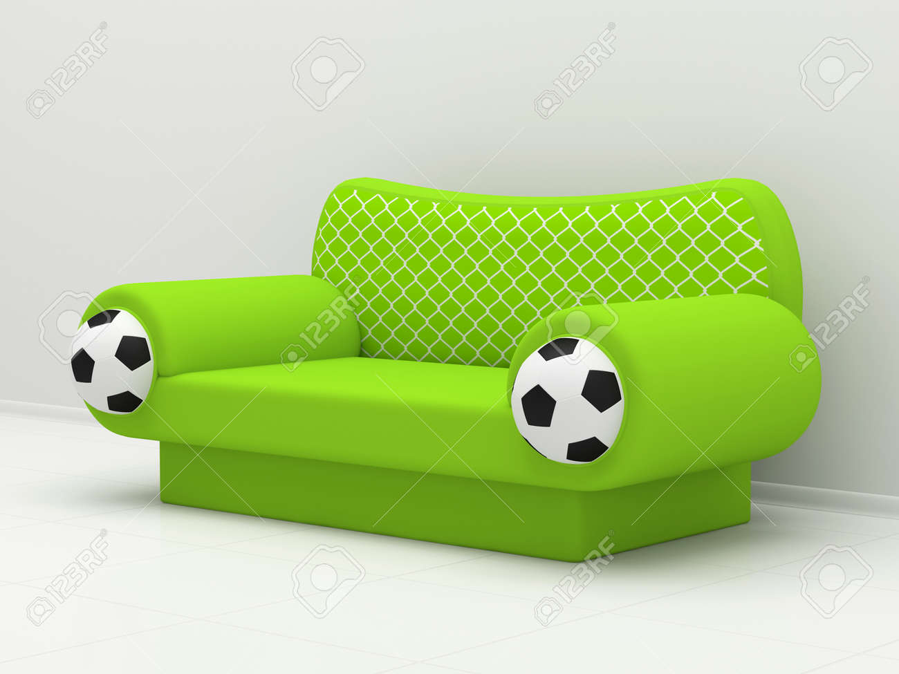 Green sofa with soccer balls and a grid Stock Photo - 12446300