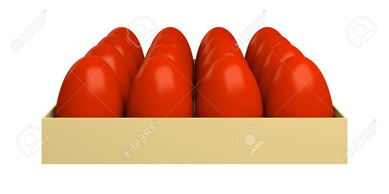 Traditional red Easter eggs, colored onions peel. Isolated on a white background. Stock Photo - 12918458