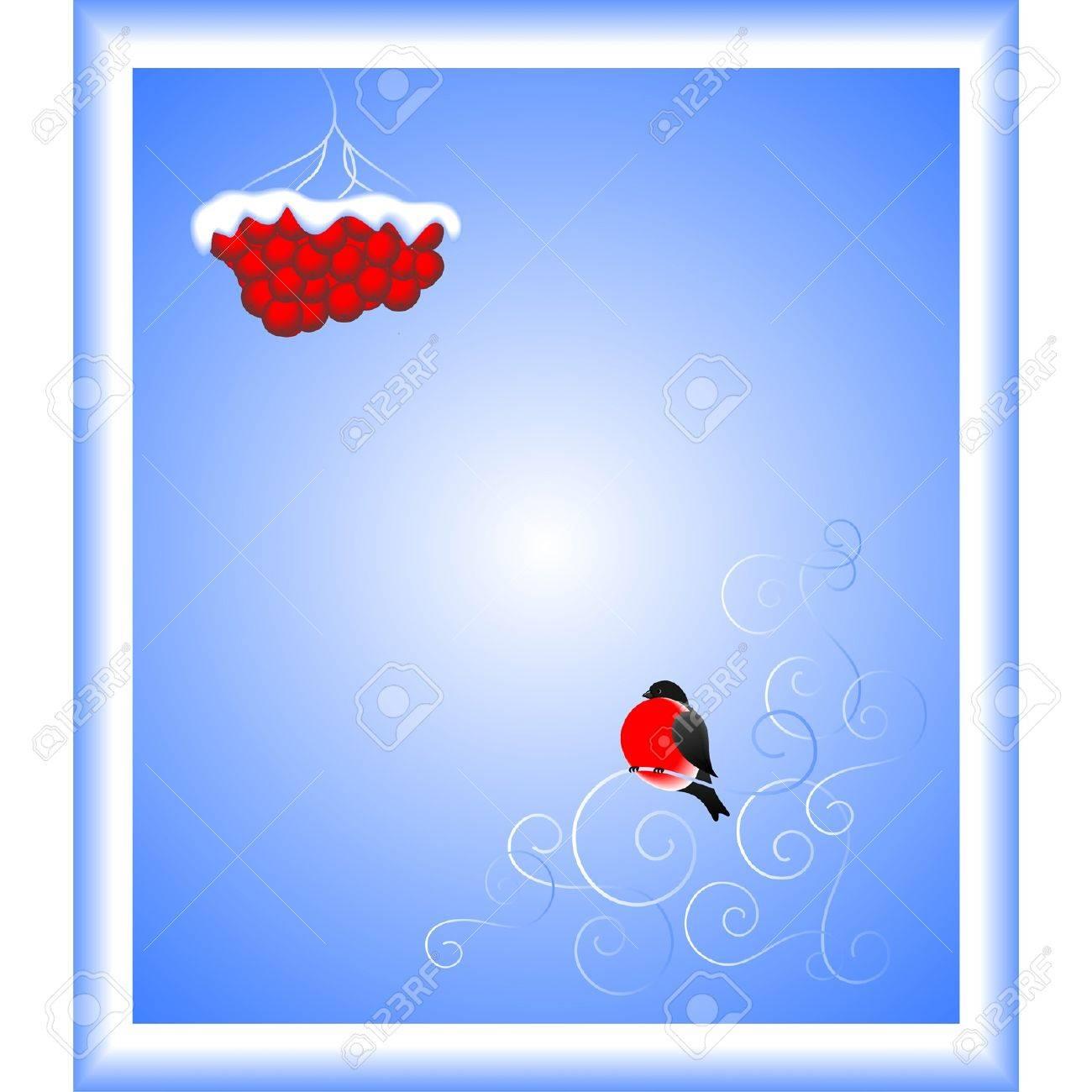 Bullfinch and a mountain ash branch  A vector illustration Stock Vector - 13106041
