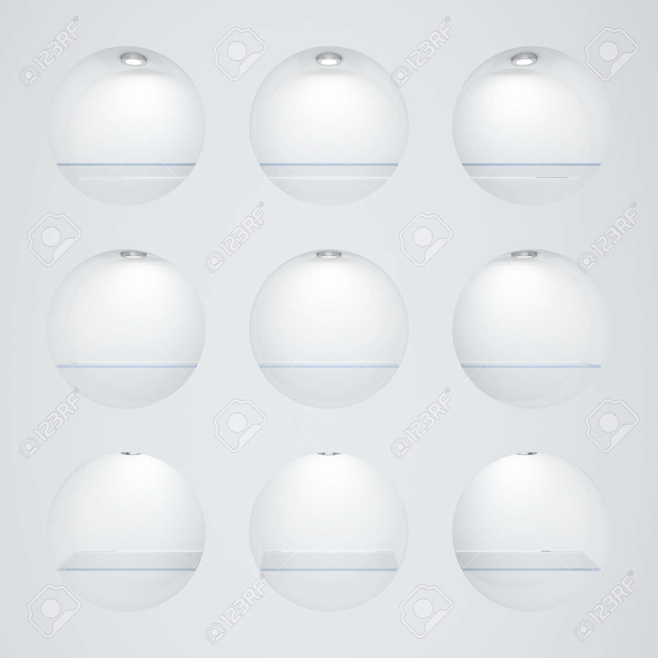 Empty white round rack with illumination of shelves Stock Photo - 13106026