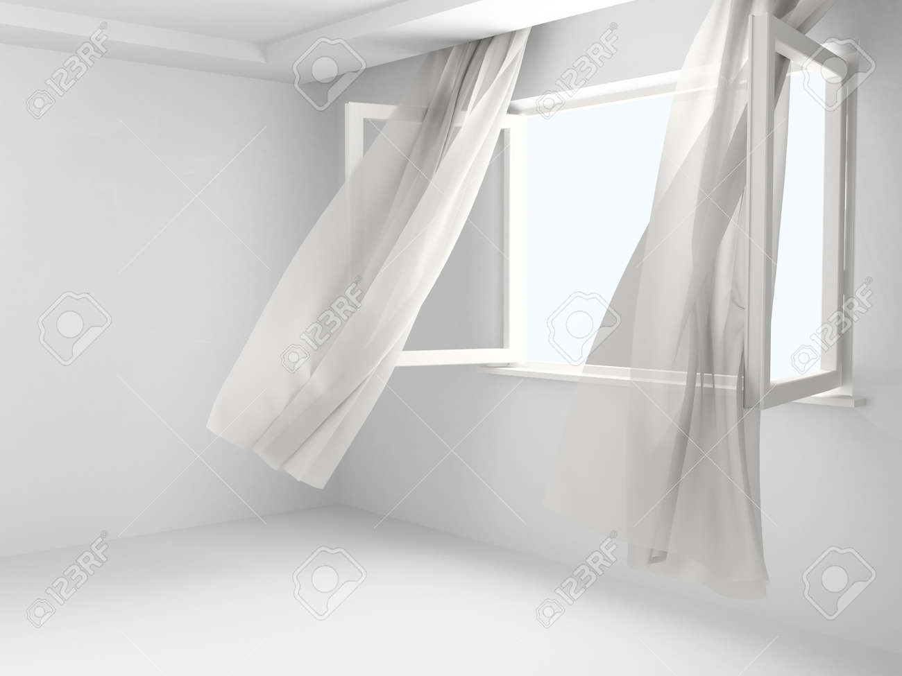 Open Window With The Curtains Developed By A Wind In An Empty