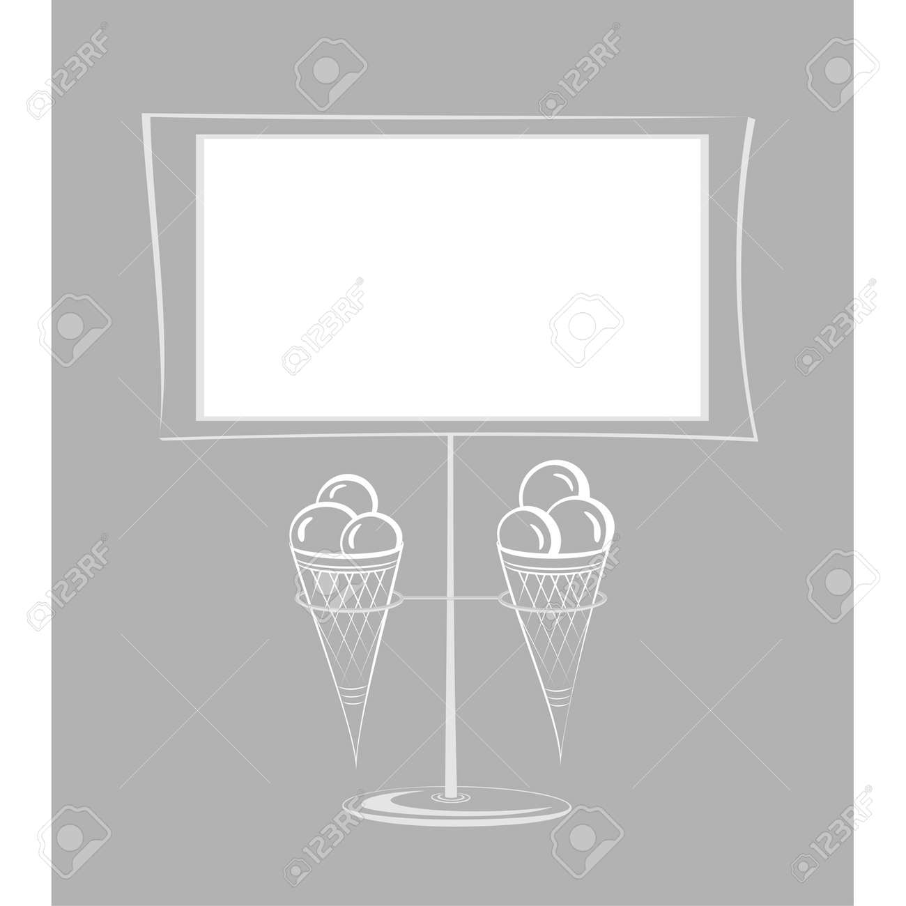 Three balls of ice-cream in a wafer small horn Stock Vector - 14247421