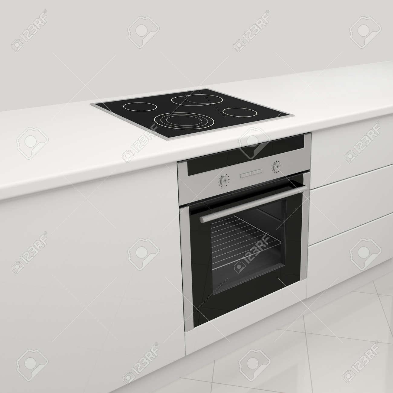 Cucina Bianca Con Piano Cottura In Vetroceramica E Forno Foto ...