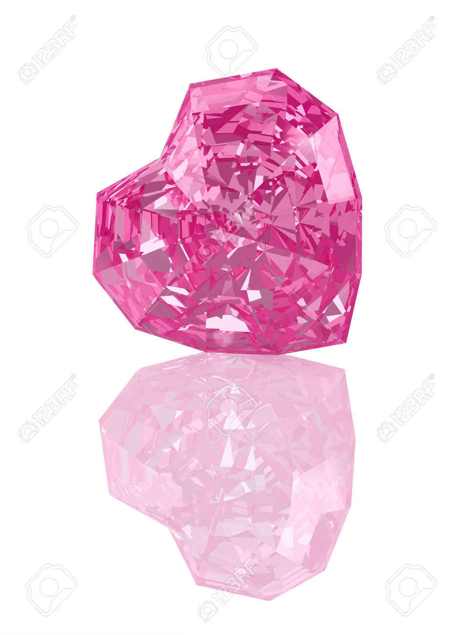 Illustration by St. Valentine's Day: pink crystal in the form of heart. Stock Photo - 17320348